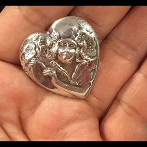 Vintage Sterling Silver Maiden Heart brooch pin